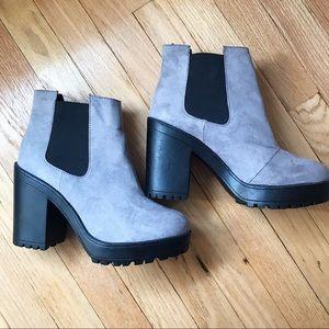 Grey Chunky Heeled Boots